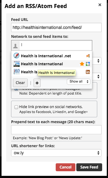 How to add an RSS Feed  to your social media profiles using Hootsuite